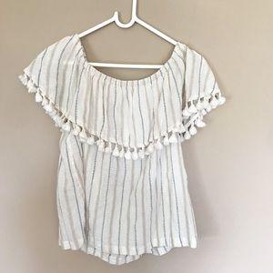 Artisan NY tassel off shoulder blouse